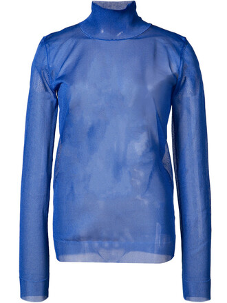 top sheer top long sheer women blue