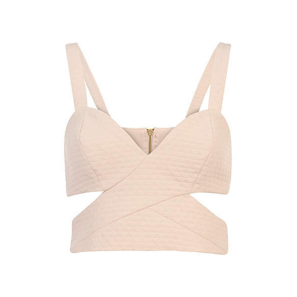 Pink jacquard cut out strappy bralet - crop tops / bralets / bandeau tops - tops - women (£25.00)