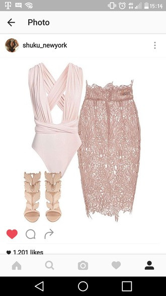 skirt nude lace skirt bodysuit nude heels high heel sandals date outfit
