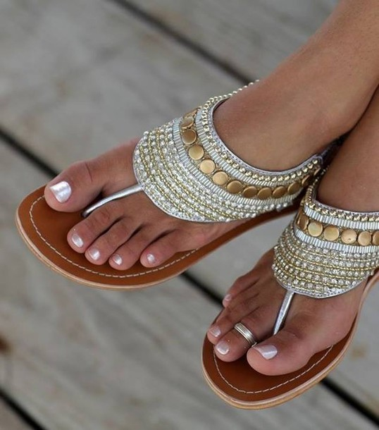 shoes sandals gold silver egyptian style gold sandals