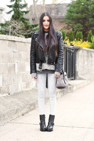 dress like jess blogger jacket sweater t-shirt jeans bag shoes make-up