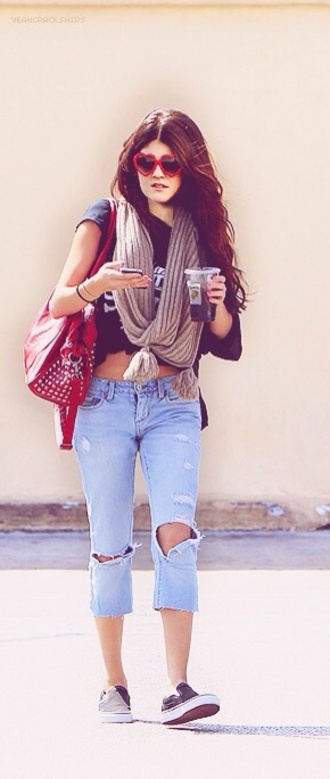sunglasses kylie jenner bag jeans scarf ripped jeans studs heart sunglasses