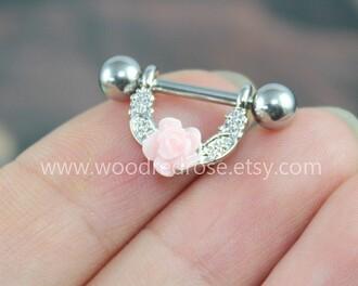 jewels flowers pink silver barbell nipple jewelry