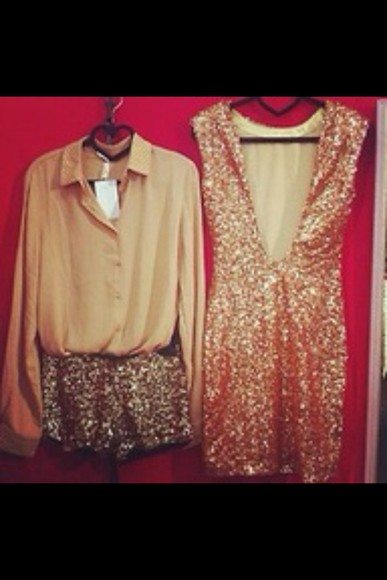 shorts dress sparkle sparkling gold shiny sequins sequin dress gold sequins embellished dress bodycon shirt, shorts, lace, bows, white, bag, japanese, korean, tights, thigh highs, deep v neck dress deep v dress v-neck cleavage cleavage dresses beige dress beige