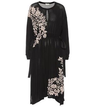 dress silk dress floral silk black