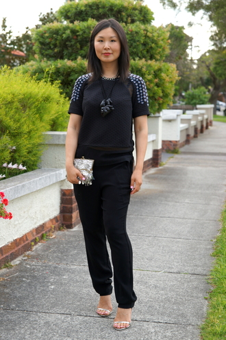 cecylia blogger top jewels bag embroidered clutch all black everything