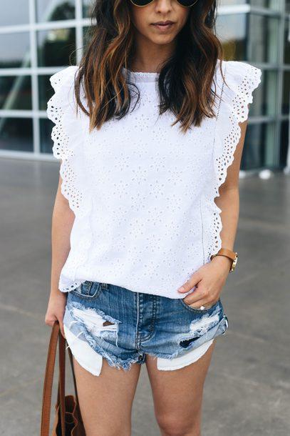 2ed8b2b414d0fa blouse tumblr ruffled top sleeveless sleeveless top white top eyelet top  ruffle shorts denim denim shorts