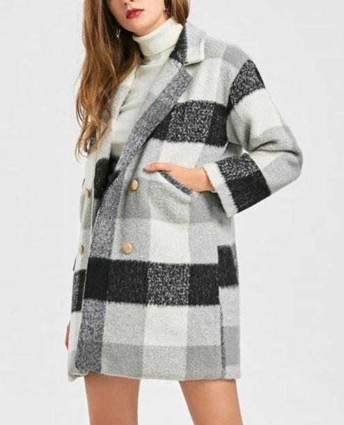 coat girly grey black trench coat winter coat plaid