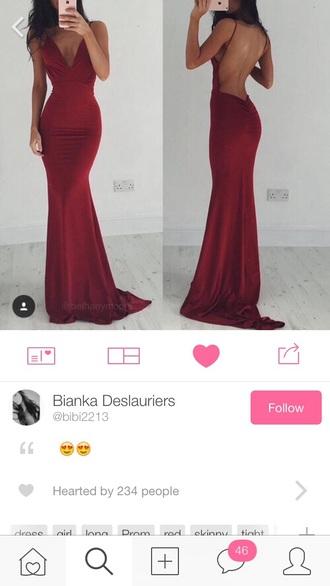 dress red long open back