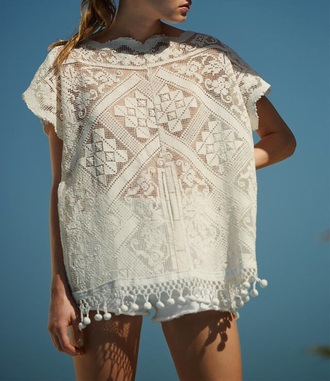 boho summer cute white hippie style crochet top white top all white everything tassel