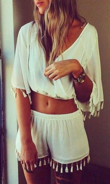 shorts fringes summer shorts blouse