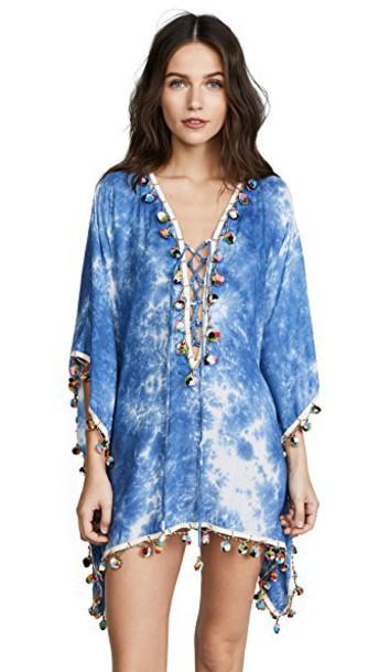 Bindya tunic lace tie dye blue top