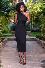 blogger,dress,shoes,black dress,one shoulder,midi dress,sandals,high heel sandals