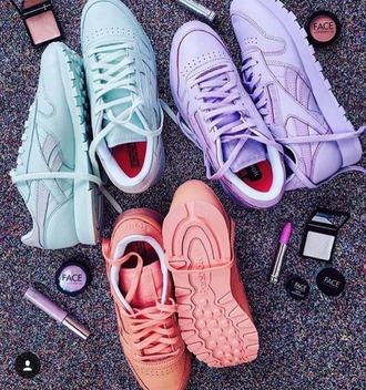 shoes reebok reebok classic reebok classic leather reebok green pastel pink reebok shoes