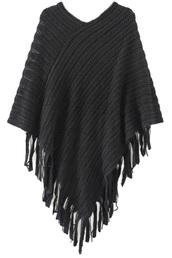 sweater,poncho,knit poncho,ribbed cardigan,tassel sweater,tassel,black poncho