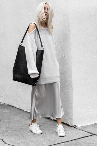 figtny blogger bag shoes sunglasses jewels sneakers slip dress sweater grey sweater fall outfits
