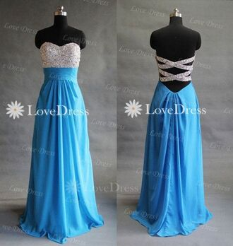 dress blue dress cross back glitter top prom dress long prom dress sparkly strappless floor length