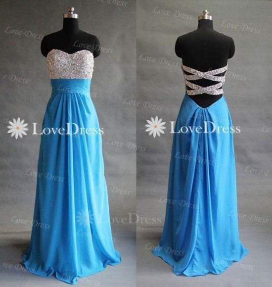 cross back dress blue dress glitter top prom dress long prom dresses sparkly strappless floor length