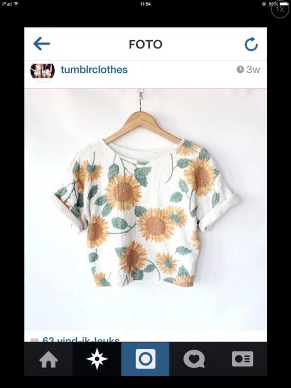 t-shirt flower crown flowers shirt sunflower skirt girly tumblr tumblr girl