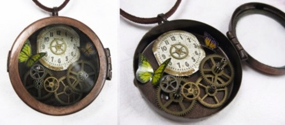 butterfly jewels necklace jewelry steampunk clock