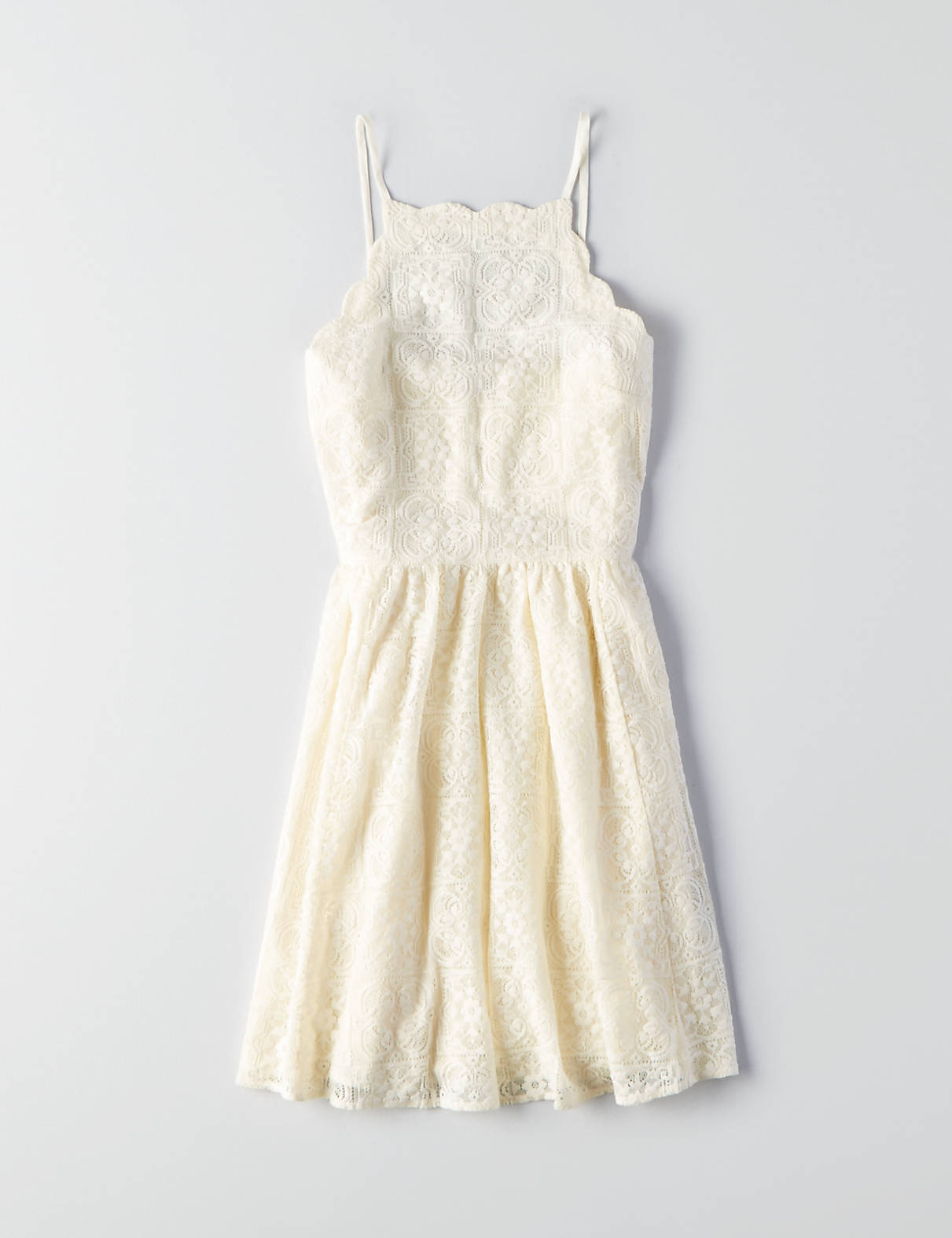 955f6ab4a76 AEO Scallop Lace Fit & Flare Dress, Cream | American Eagle Outfitters