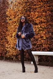 coat,tumblr,fur coat,blue coat,tights,opaque tights,boots,black boots,sunglasses