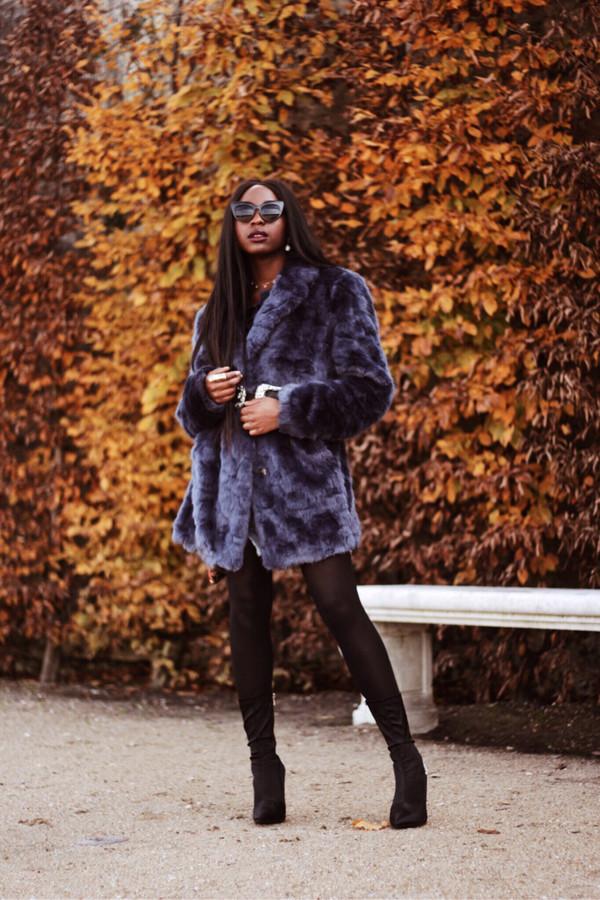 coat tumblr fur coat blue coat tights opaque tights boots black boots sunglasses