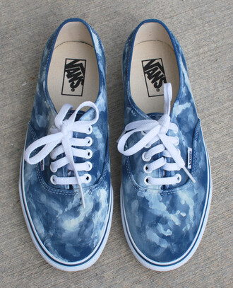 shoes vans sneakers navy blue blue shoes blue sneakers blue vans clouds cloud cloud print