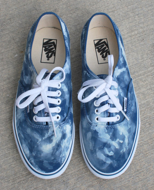 shoes vans sneakers navy blue blue shoes blue sneakers blue vans clouds clouds cloud print acid wash