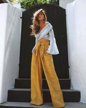 pants,bell sleeves,wide-leg pants,yellow,yellow pants,top,blue top,crop tops