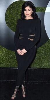 dress,midi dress,black dress,kylie jenner,sandals,lace up