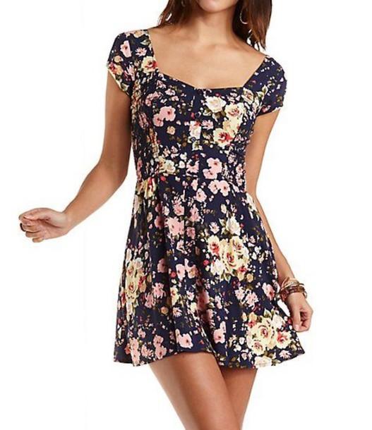fab78bd4eb1 dress skater dress floral floral dress short floral dress cap sleeve dress