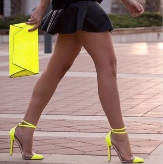shoes yellow transparent heels high heels clear strappy heels clear shoes pointy toe heels ankle strap heels
