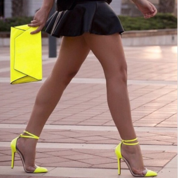 Shoes: yellow transparent heels high heels clear strappy