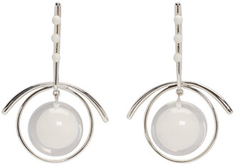 earrings silver white jewels