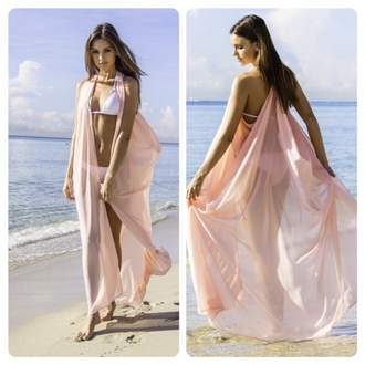 swimwear cover up sexy silk light pink flowy blush wrap sea through beach blush warp long summer