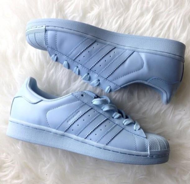 new arrival 68762 f4743 shoes blue trainer adidas superstars adidas pharell williams supestar color sky  blue