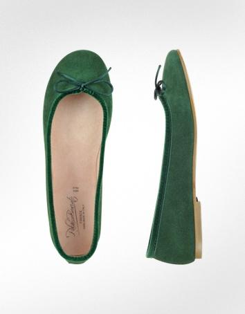 Palazzo bruciato emerald green suede ballerina shoes