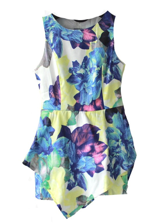 Lotus Print Playsuits - Jumpsuits & Playsuits - Clothing