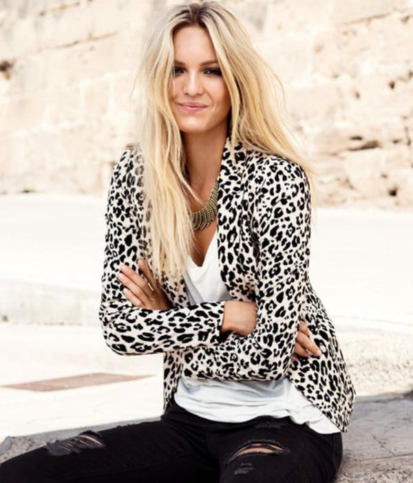 jacket blazer white leopard print