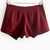 Wine Red Asymmetrical Slim Woolen Shorts - Sheinside.com
