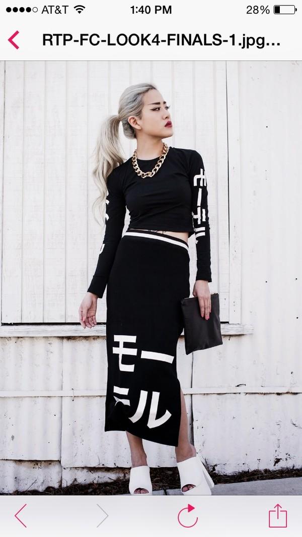 Buy Motel Bonnie Long Sleeve Crop In Black Japanese
