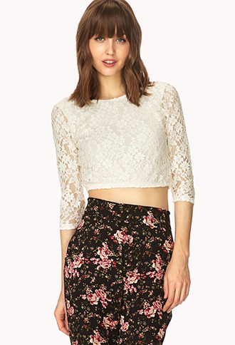 Sweetest Lace Crop Top | FOREVER21 - 2000109883