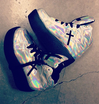 shoes holographic silver argent metal cross cute style swag fashion vintage holo