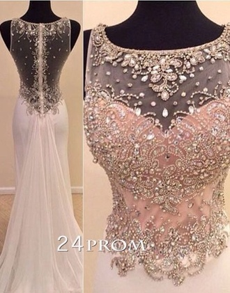 dress prom beaded long illusion illusion neckline pearl pink light pink formal dress prom dress evening dress gown