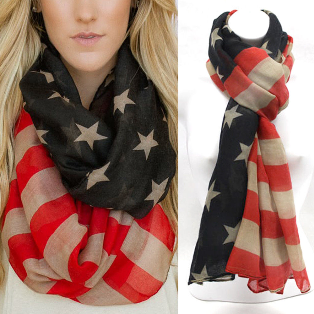 New Patriotic USA American Flag Theme Scarf Scarves Wrap US SHIP 100 Viscose | eBay