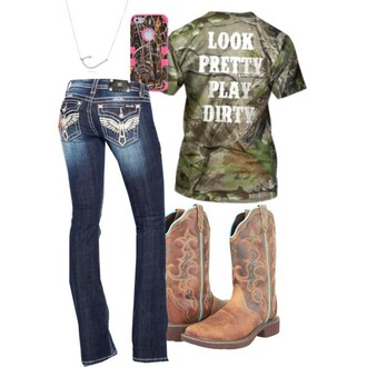 jeans denim western dirty country style camo shirt t-shirt