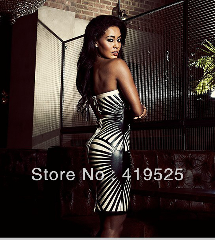 Hottest Knitted Spandex  Black & Nude  PU Leather Striped Strapless Bandage Dress H474V,Factory Wholesale,Free Shipping -in Evening Dresses from Apparel & Accessories on Aliexpress.com