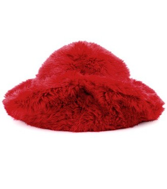 fur faux fur hat fur hat red
