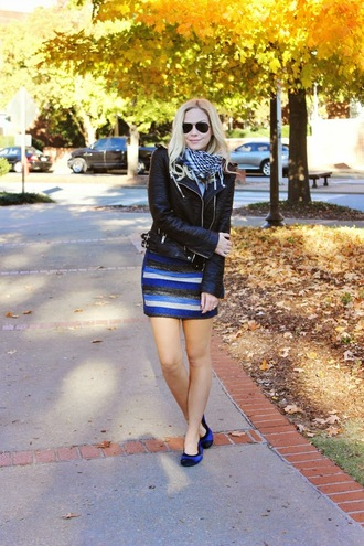 scarf jacket blogger sunglasses b soup striped skirt blue skirt leather jacket ballet flats